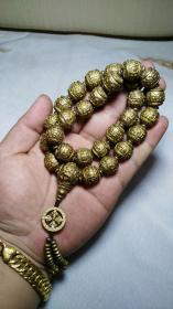 下鄉收的老貨【舊物換錢】藏傳精黃銅經文念珠