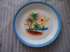 海岛风光搪瓷盘子