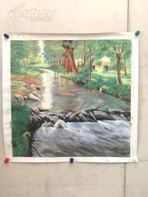 巨幅画家花了一个星期,《美丽的乡间,迷人的树林》油画油画 80*80 纯手绘的