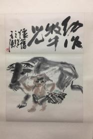 《牧牛图》浙江画家周方德真迹精品(小库)