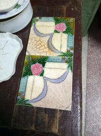 潮汕老厝老瓷砖两块,汕头设计,日本生产?