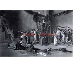 """1886年意大利艺术系列凹版蚀版画《花节》—意大利画家""""A. Mangilli""""作品 42x29cm"""