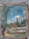 布制  白云、蓝天、小村庄  油画一幅 49*39厘米
