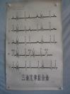5-60年代 手绘 山东医学院挂图一张  三音心律综合图 尺寸106*74厘米