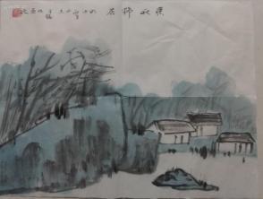 066 精品山水小画  深秋野居 40x30