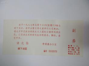 1987年 中顾委办公室请柬1枚  编号靠前  马玉涛旧藏