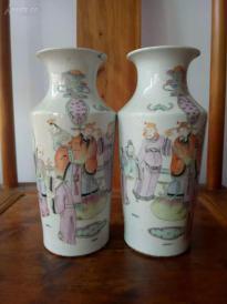 收來的一對清代花瓶,細節如圖,老貨!