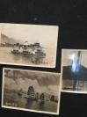 民国照片3张  香港帆船--皇后邮船--九龙香港轮渡