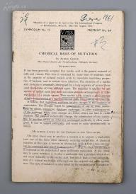 談家楨舊藏:1961年批校本《CHEMICAL BASIS OF MUTATION》(生物突變的化學基礎)一冊 HXTX115915