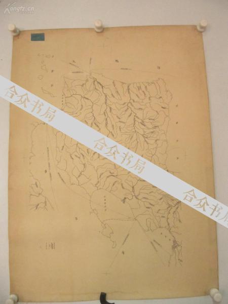 著名出版家《读书》主编沈 昌 文  签名校对 50-60年代手绘地图一幅 《西班牙》 尺寸73/54厘米.