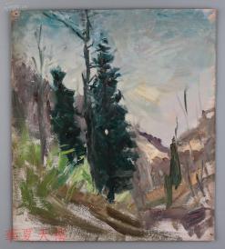 西安美术学院油画系副主任、油画家 董钢油画作品《松林》一幅  HXTX104959