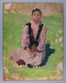 西安美术学院油画系副主任、油画家 董钢油画作品《少数民族女青年》一幅 (背后有签名) HXTX104962