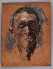 西安美术学院油画系副主任、油画家 董钢油画作品《男青年》一幅 (未画完)  HXTX104960