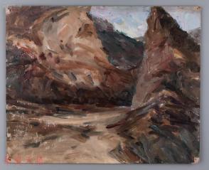 西安美术学院油画系副主任、油画家 董钢油画作品《山间》一幅  HXTX104963