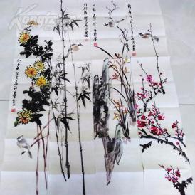 013  精品国画花鸟四条屏 梅兰竹菊 126x25x4
