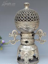 精美銅鎏銀鏤空香爐一個 高28cm 重約1300克,