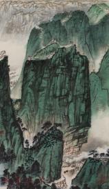 文革时期 精制木板水印 着名画家 钱松喦《长城》画作 一幅(中国五金矿产进出口总公司定制,纸本卷轴,尺寸:44.5*26cm) HXTX103867