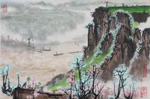 文革时期 精制木板水印 着名画家 刘宝纯《高原春色》画作 一幅(纸本卷轴,尺寸:33*47.5cm)   HXTX103864