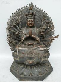 藏传纯铜千臂准提佛母像一尊    重约17斤 高约39cm,