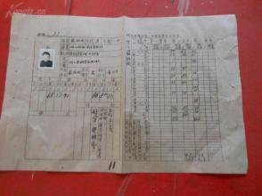 皖北安庆区第二中学校学生学籍表一张,附带像片,品好如图。,