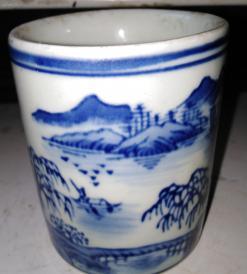 民国青花瓷杯