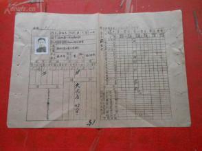 皖北安庆区第二中学校学生学籍表一张,,附带像片,品好如图.