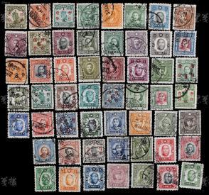 民国 成套邮票七套共计五十四枚 (含纽约版、伦敦版、中华改版孙中山像,烈士像、帆船改值及孙中山像改值等) HXTX106769