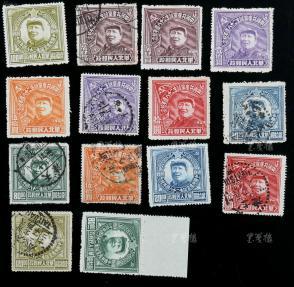 1949年 華北區中國共產黨誕生28周年紀念郵票七枚全套兩套共十四枚郵票( 新、舊各一套,舊票大部分全戳)  HXTX117336
