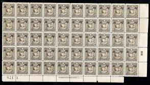"""1941年 伪河北 烈士像邮票加盖小字""""河北""""(半分) 全格五十枚 HXTX107597"""