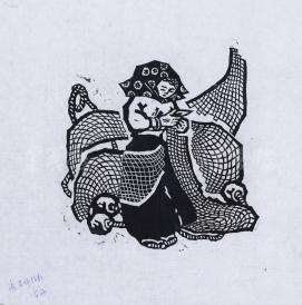 """版畫家 """"雷雨"""" 版畫作品""""織網""""一幅(左下角簽有""""張老師指教"""",尺寸:21*20cm) HXTX119181"""