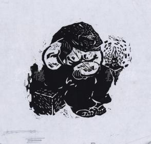 """版畫家 """"雷雨"""" 版畫作品""""夜繡""""一幅(背面簽有""""張老師指教"""",尺寸:20*22cm) HXTX119182"""