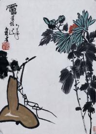 精制木版水印 潘天壽花卉作品一幅(紙本托片,尺寸:66*46cm) HXTX119183