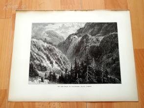 1878年木刻《通往菲林根的路,黑森林》(ON THE ROAD TO VILLENGEN, BLACK FOREST)---选自《如画的欧罗巴》,31.5*24厘米--精美,漂亮,高质量