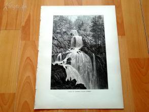 1878年木刻《特里贝格的瀑布,黑森林》(FALLS AT TRIBERG, BLACK FOREST)---选自《如画的欧罗巴》,31.5*24厘米--精美,漂亮,高质量