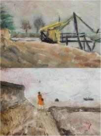 1965年 佚名 風景布面油畫作品兩幅(尺寸:27*39cm*2) HXTX119542