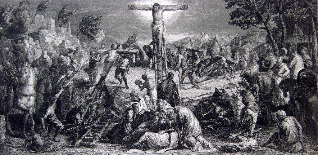 """1886年意大利艺术系列铜版蚀刻版画《耶稣受难像》—意大利威尼斯画派着名画家""""丁托列托﹝Tintoretto,1512-1594﹞""""作品 42x29cm"""