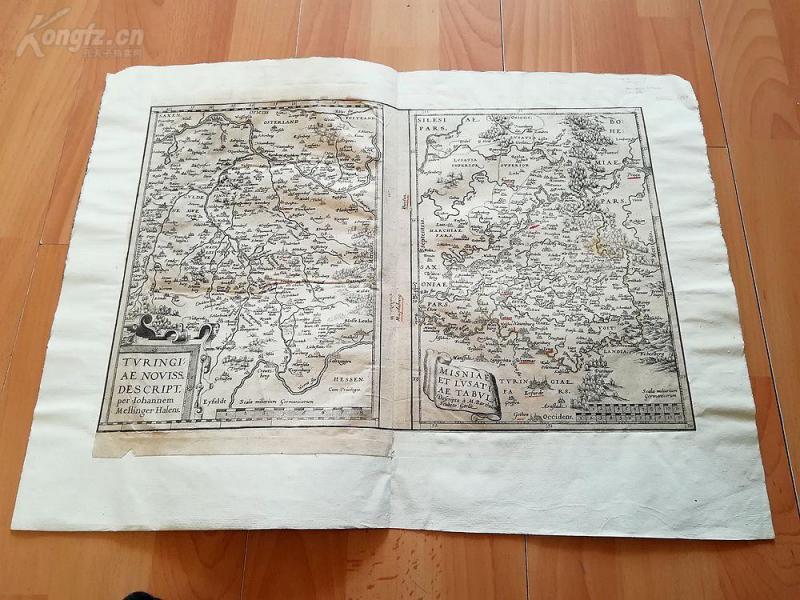 1575年老地图一张2幅《16世纪德国,图林根和迈森地区》(TVRINGIA....)---纸张53.5*40.5厘米