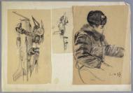 著名油画家、中央美院教授 颜铁铮 铅笔手绘人物素描画稿两张(尺寸:23.7*16.8cm*2) HXTX118170