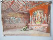 约6-80年代    画家临摹敦煌壁画水粉画一幅    尺寸34*39厘米