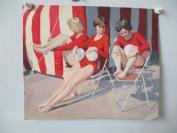 约6-80年代   无款油画1幅  沙滩女人   尺寸28*38厘米