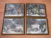 老的水彩画4幅《中国小镇街景》--画工老道--未知艺术家,有签名