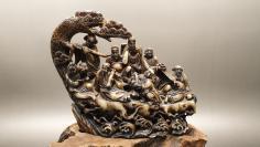 N 0449    不明石料雕刻  八仙过海      有断裂、磕碰!