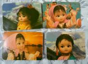 1978年北京市日历厂工艺娃娃1套4全,黄版,