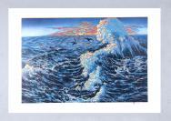 江西著名版画家、江西省美协会员 梁国富 2012年亲笔签名 绝版套色油印 版画作品 《海纳百川》一幅(作品编号为:50/50,作品直接得自于艺术家本人!) HXTX110986
