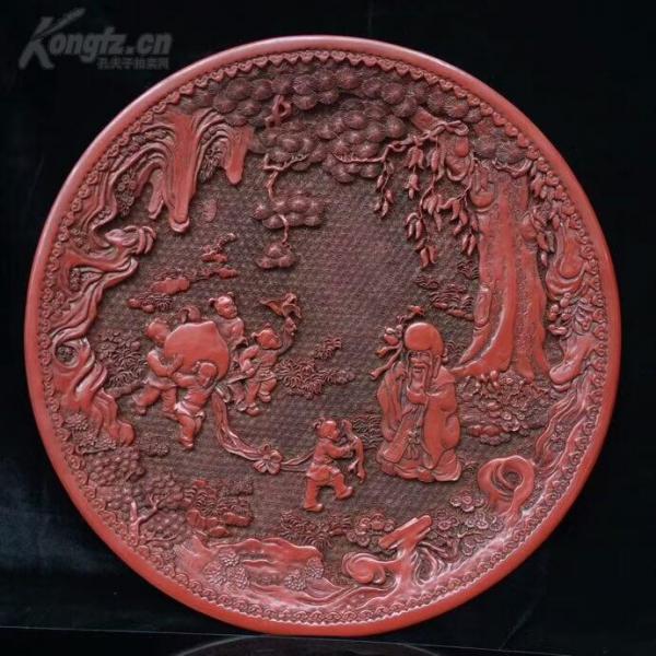 老漆器擺件 五子獻壽裝飾盤 大清乾隆年制款識 脫水椴木胚胎 大漆漆層 雕工細膩一眼貨 長37厘米 寬37厘米 高4厘米
