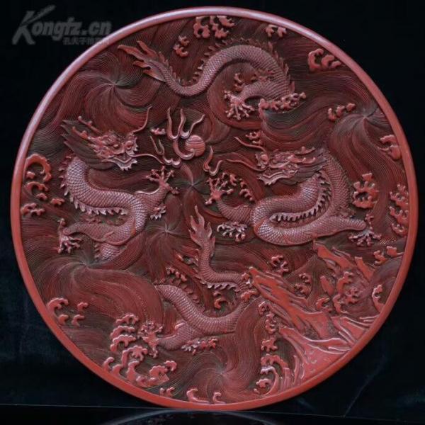 老漆器擺件 盤龍戲珠裝飾盤 大清乾隆年制款識 脫水椴木胚胎 大漆漆層 雕工細膩一眼貨 長37厘米 寬37厘米 高4厘米