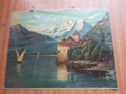 老油画一大张,长40cm50cm,品好如图。