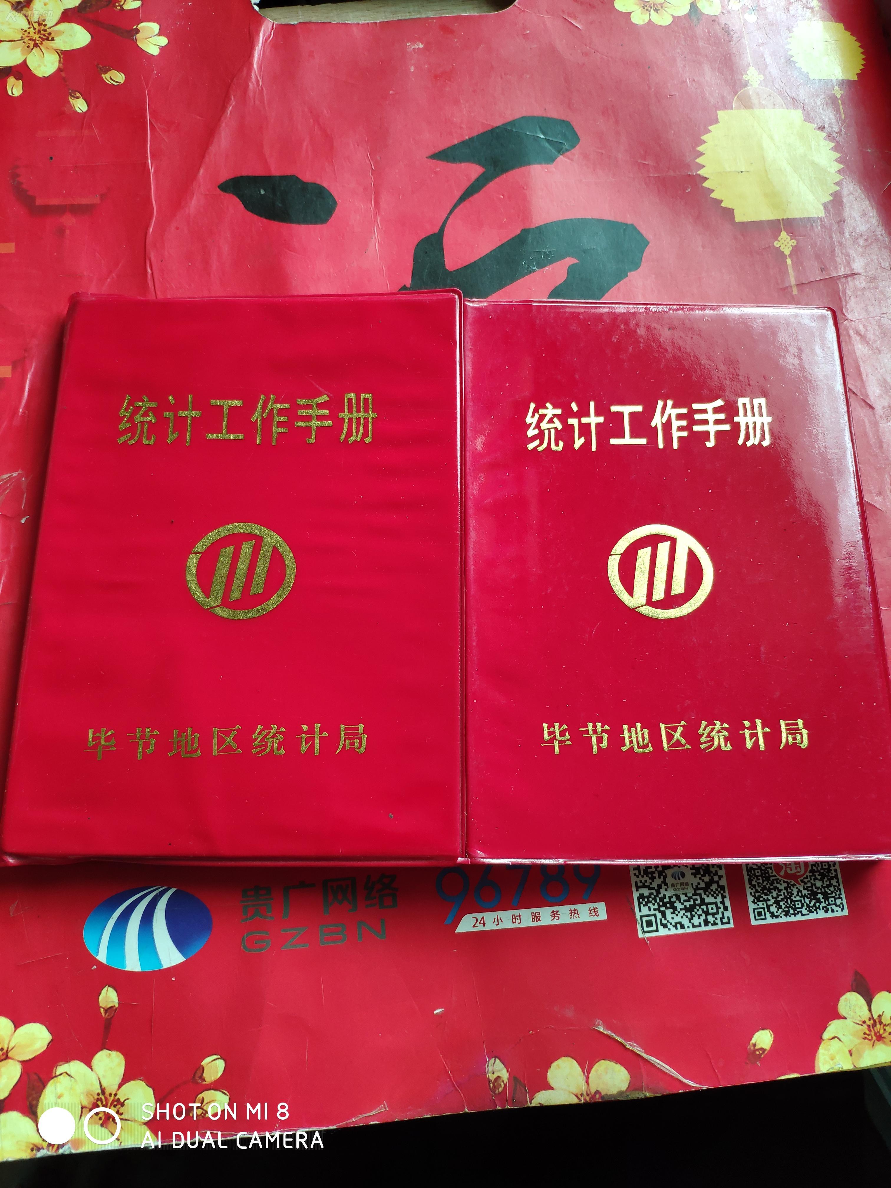 90年代统计工作手册笔记本  红塑皮软精装32开 2本合拍
