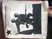 著名版画家  陈珂田  原拓版画   抗战  一张  55×43公分