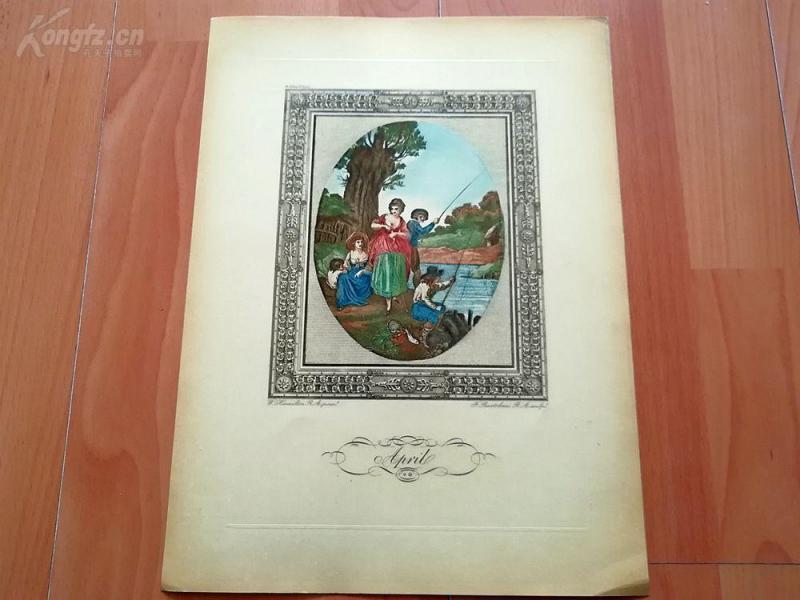 1949年彩色蚀刻版画《四月》(April)--真正的彩色蚀刻,重现点刻大师弗朗切斯科·巴尔托洛基作品--巴黎蚀刻协会出品--32*23.5厘米
